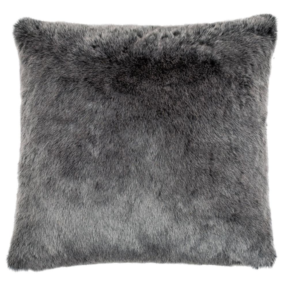 Grey Faux Fur Cushion Feather Amp Black