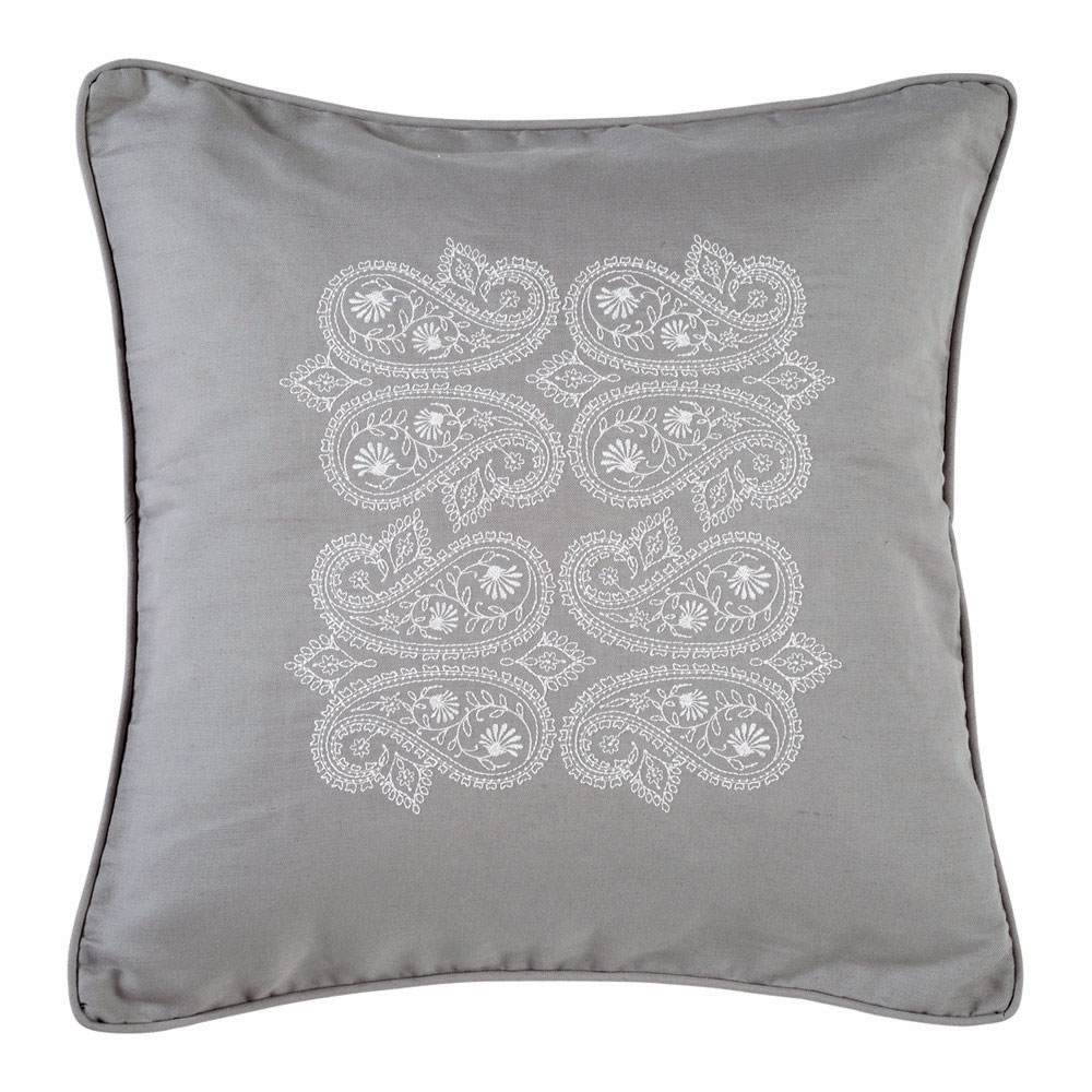 Paisley Embroidered Grey Cushion Feather Amp Black