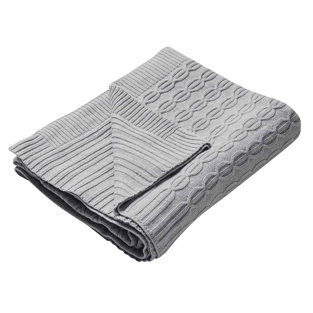 Cable Knit Cashmere Mix Throw Feather amp Black