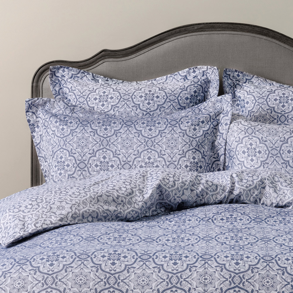 Azulejo Jacquard Bed Linen  Duvet Cover King Blue