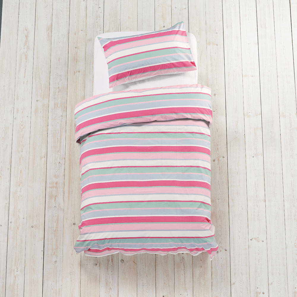Girls Multi Stripe Bed Linen Set - Double