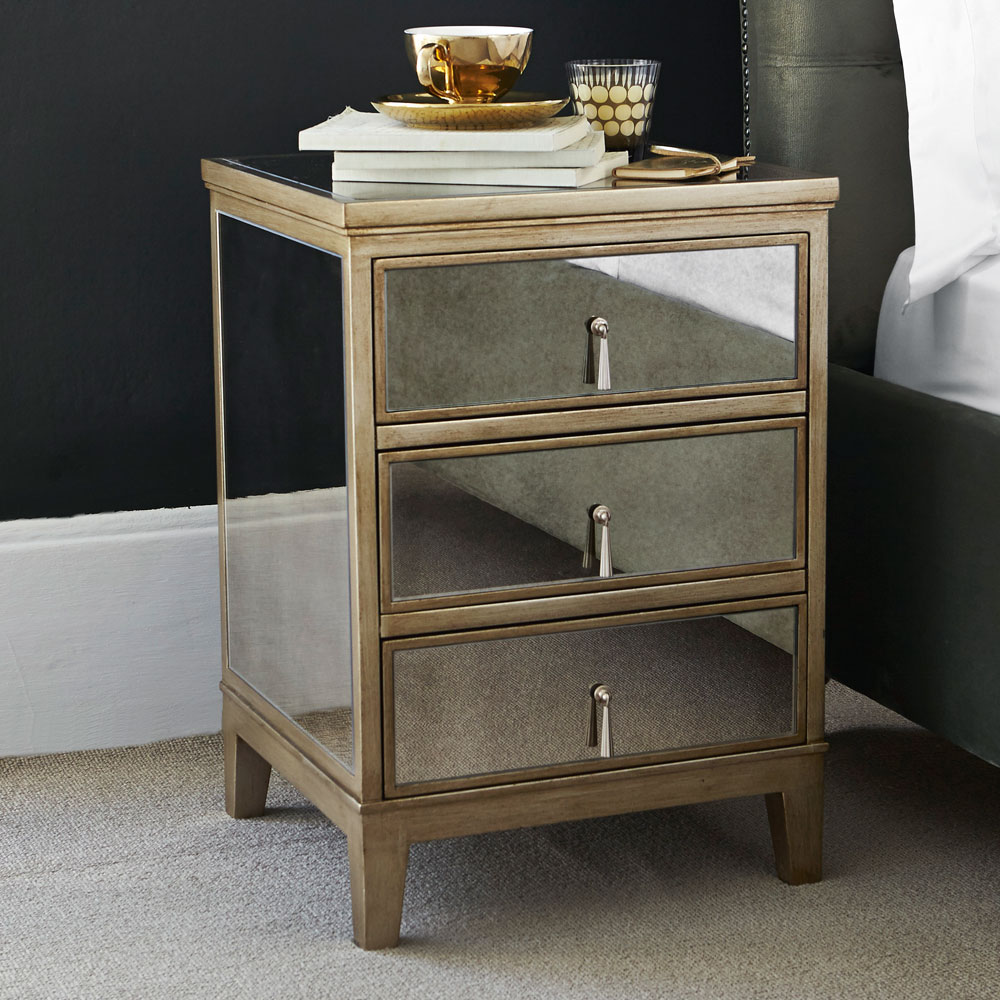 Gatsby 3 Drawer Bedside Feather Amp Black