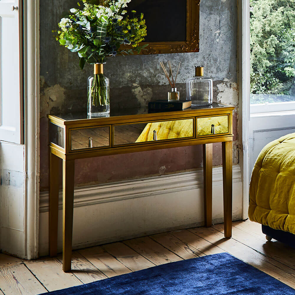 Gatsby Mirror Console Table Feather Amp Black