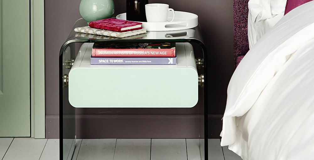 Glass Bedside Table : Glass Bedside Table  Feather & Black