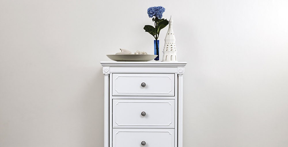 Lille White 5 Drawer Tall Chest